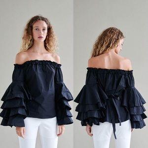 Style Mafia Anja Ruffled Black Cotton Top